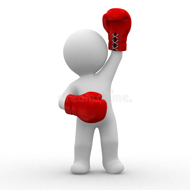 Boxing. 3d little guy with red boxing gloves in hands