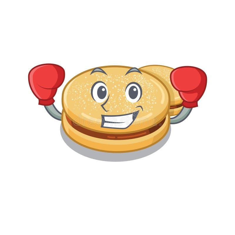 Boxing alfajores cartoon in the a jar stock illustration