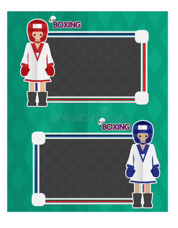 Boxing cartoon banner. Icon sport boxing cartoon design character vector illustration