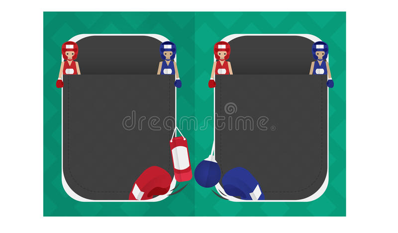 Boxing cartoon page banner. Icon sport boxing cartoon design character stock illustration