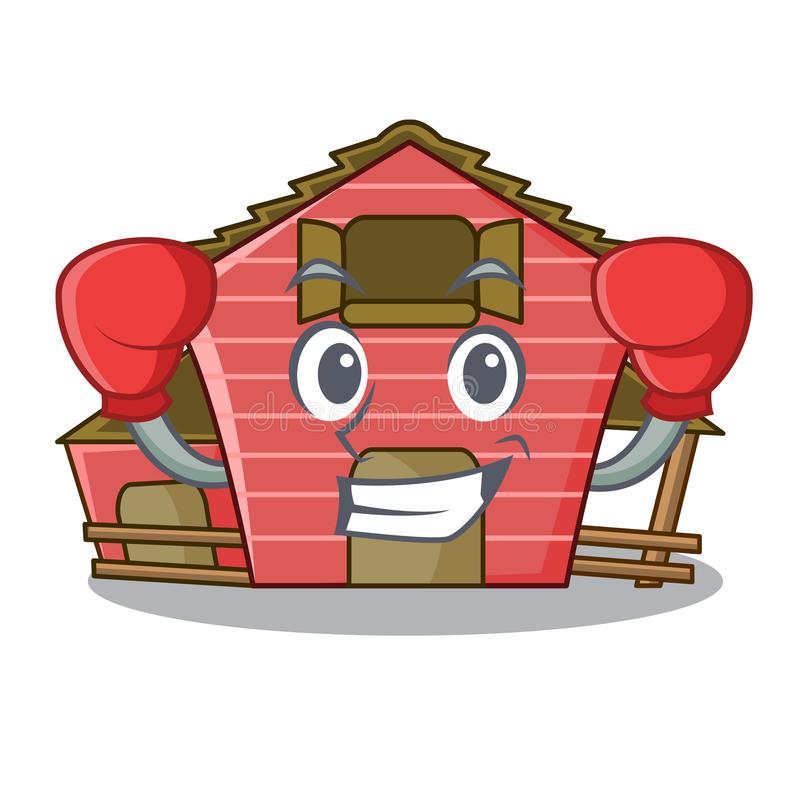 Boxing character red barn building with haystack. Vector illustration royalty free illustration