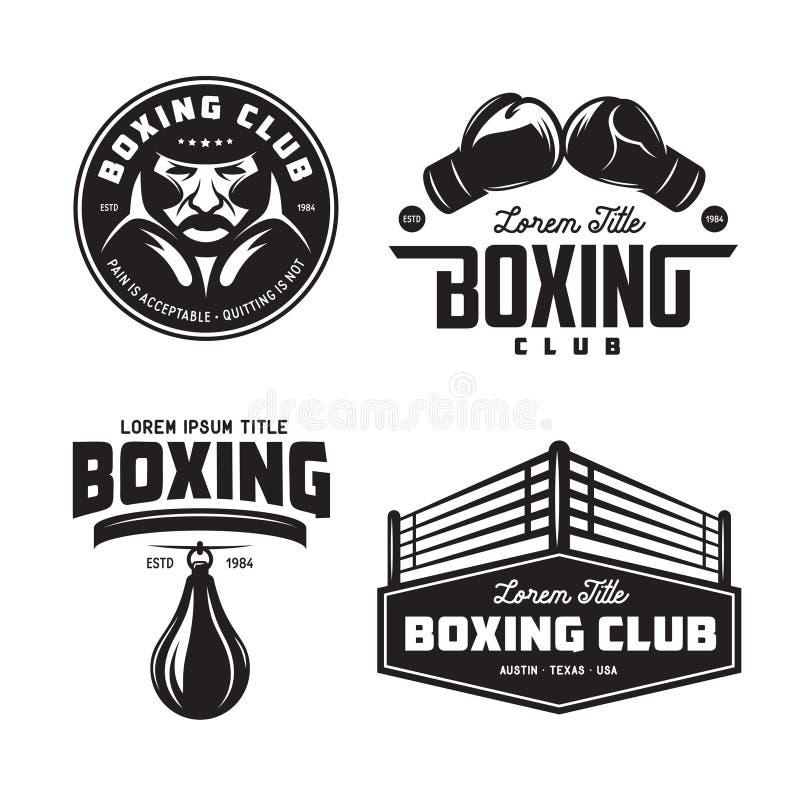 Boxing club labels set. Vector vintage illustration. vector illustration