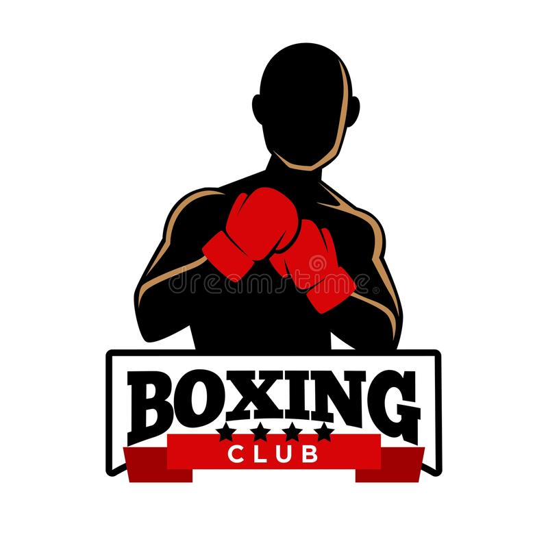 Boxing club logotype with sportsman in gloves silhouette royalty free illustration