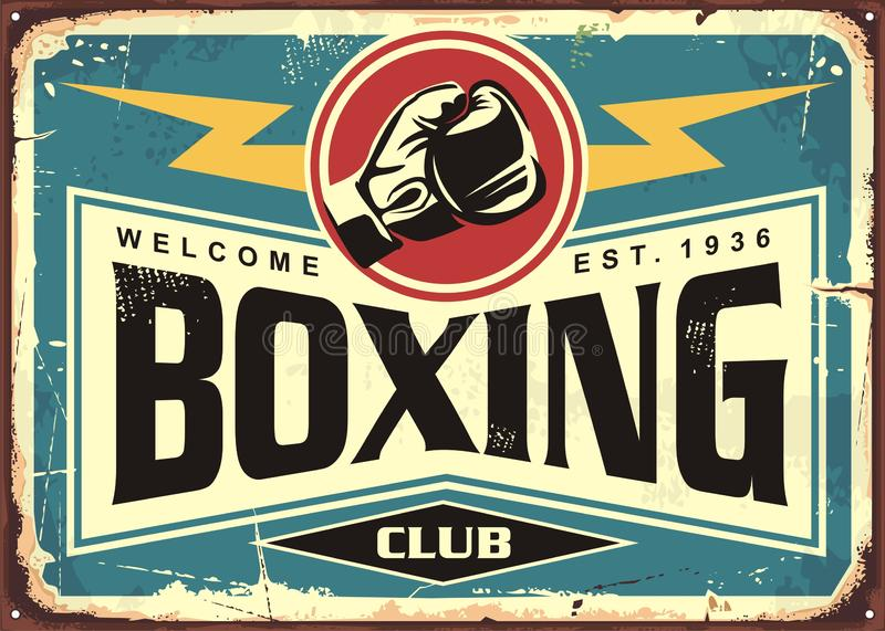 Boxing club retro tin sign template design. Sport and recreation promotional poster. Vector illustration royalty free illustration