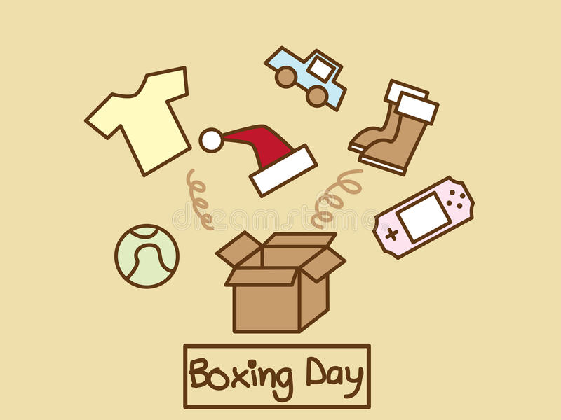 Boxing Day. Illustration of many stuff out of the box vector illustration