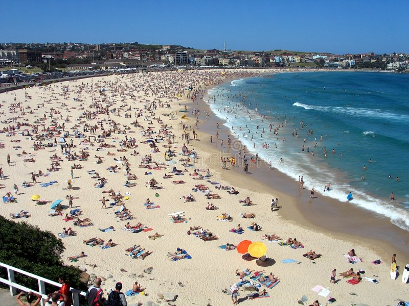 Boxing day on Bondi beach royalty free stock photography