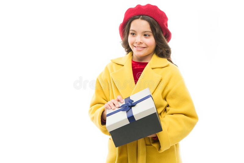 Boxing day. child with present box. spring fashion. happy shopping. childrens day. France style. small parisian girl stock photography