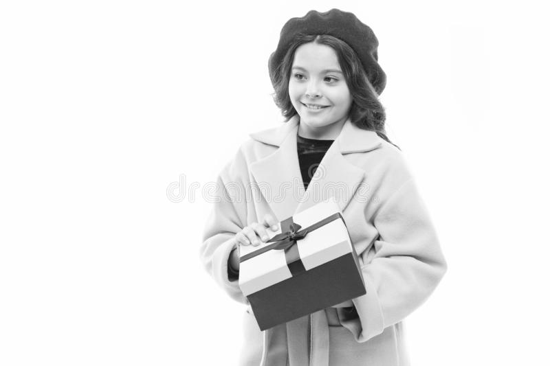 Boxing day. child with present box. spring fashion. happy shopping. childrens day. France style. small parisian girl stock images
