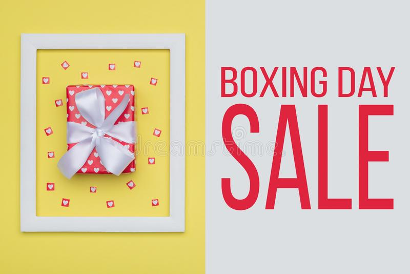 Boxing Day Sale backdrop. Festive winter holidays Christmas Sale background. stock images
