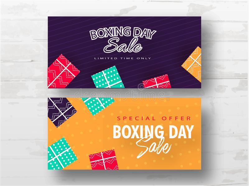 Boxing Day Sale banner design decorated with gift boxes in two color option on white background. Boxing Day Sale banner design decorated with gift boxes in two royalty free illustration