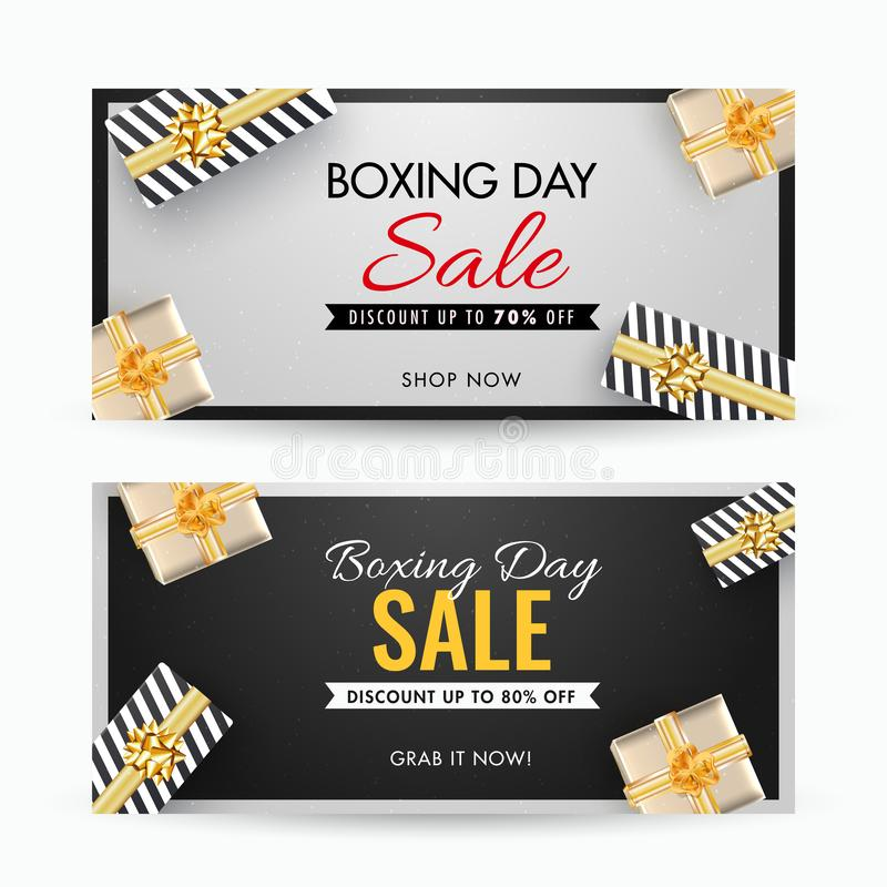Boxing Day Sale banner design with different discount offer and the top view of gift boxes decorated on grey and black background. Boxing Day Sale banner design royalty free illustration