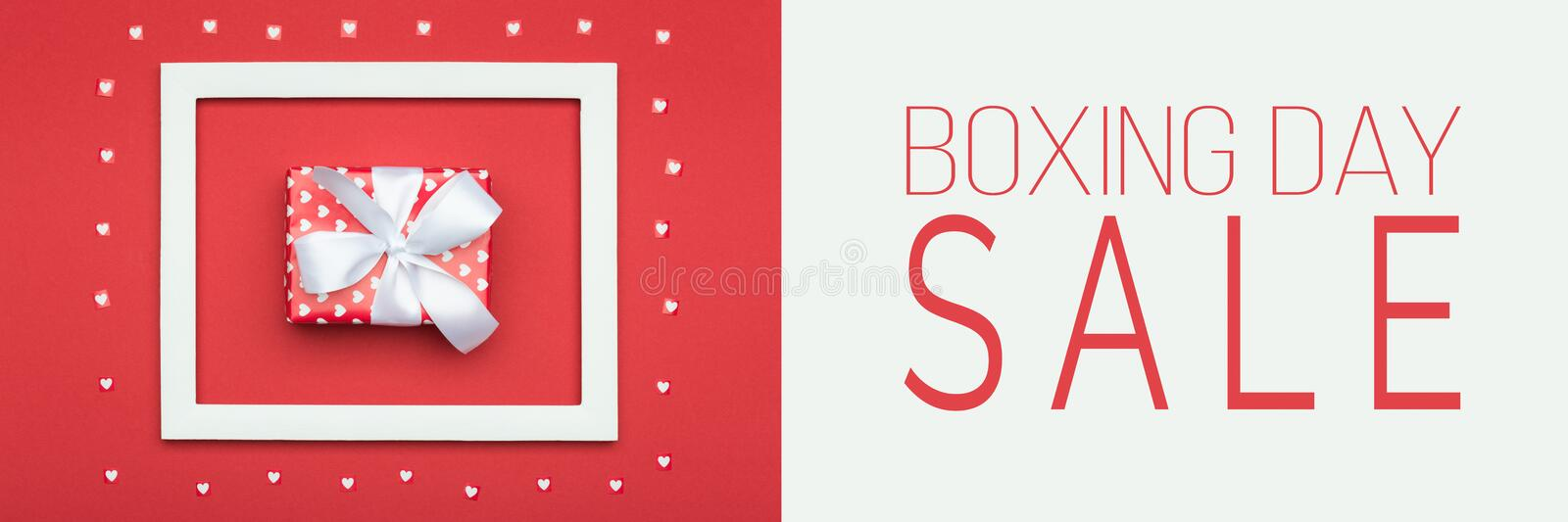 Boxing Day Sale banner. Festive winter holidays Christmas Sale background. stock photo