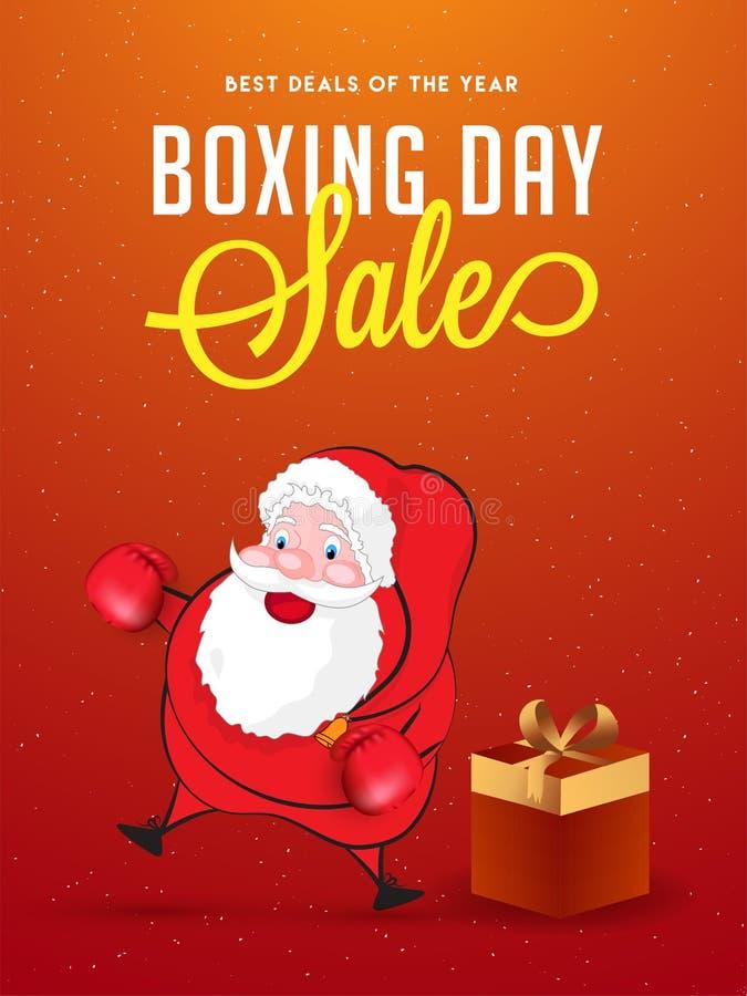 Boxing Day sale banner or poster design, illustration of fighter vector illustration