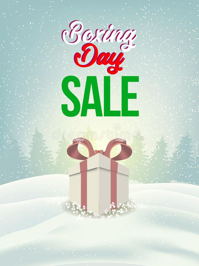 Boxing day sale. christmas advertising clipping mask box and eps 10. coloring, blue, gray, red bubble and balls. special poster vector illustration