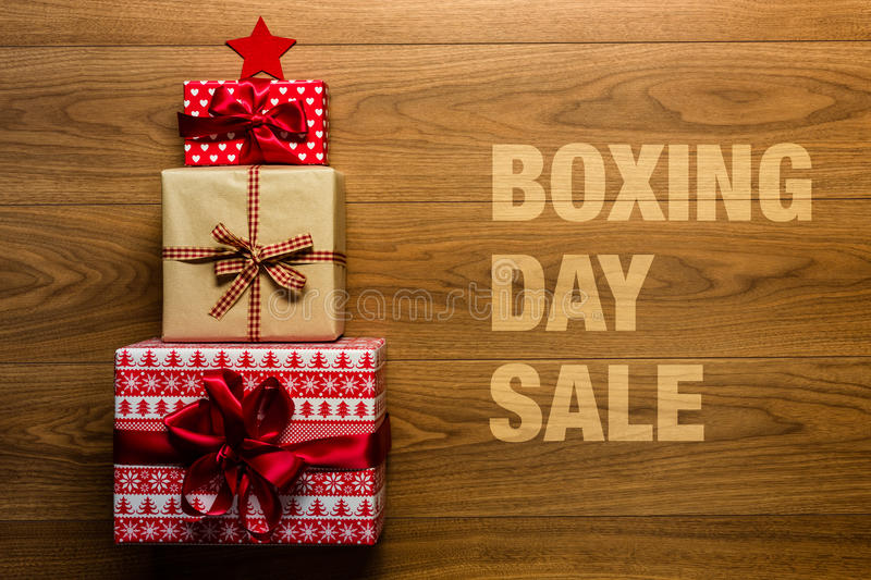 Boxing day Sale concept on wooden background, royalty free stock photos