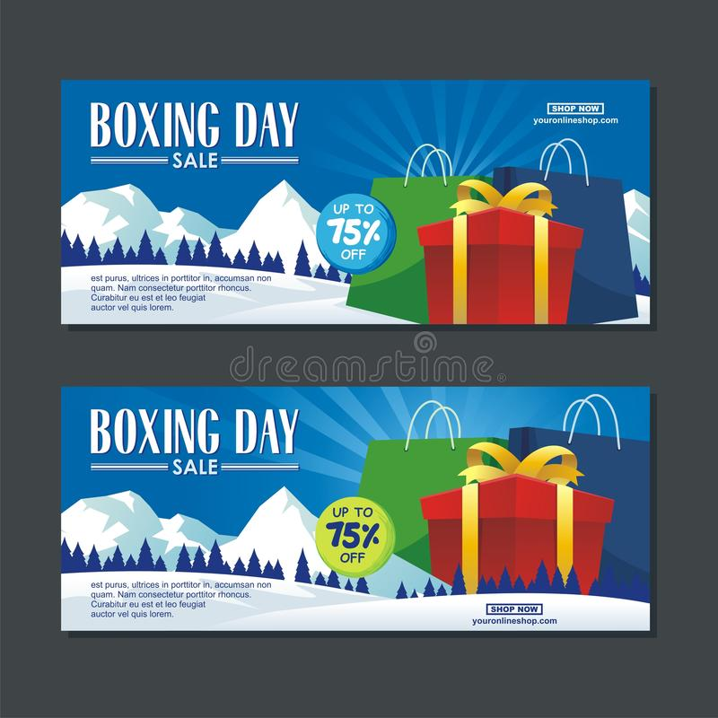 Boxing Day Sale Design with gift boxes, Paper bag, and snowy landscape stock illustration