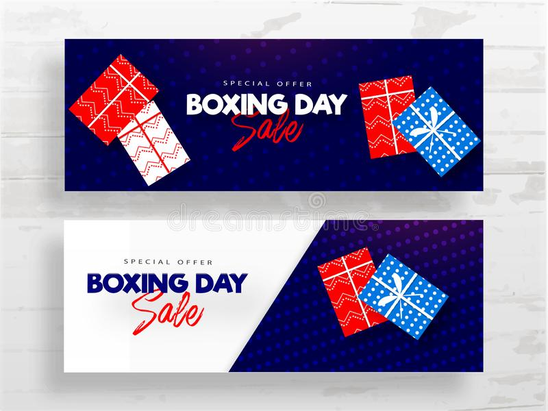 Boxing Day Sale header or banner design set with top view of gift boxes on white and blue background. Boxing Day Sale header or banner design set with top view vector illustration