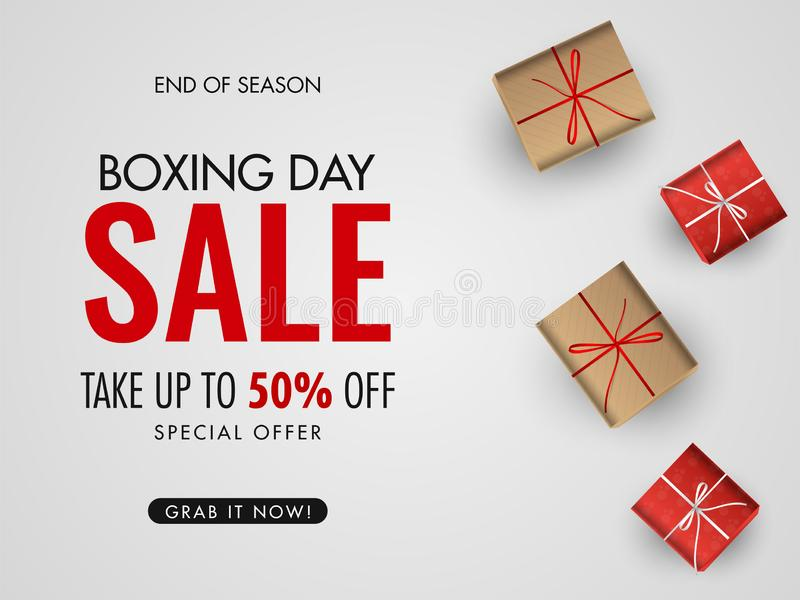 Boxing Day Sale poster or banner design with 50% discount offer and the top view of gift boxes on white background. Boxing Day Sale poster or banner design with stock illustration