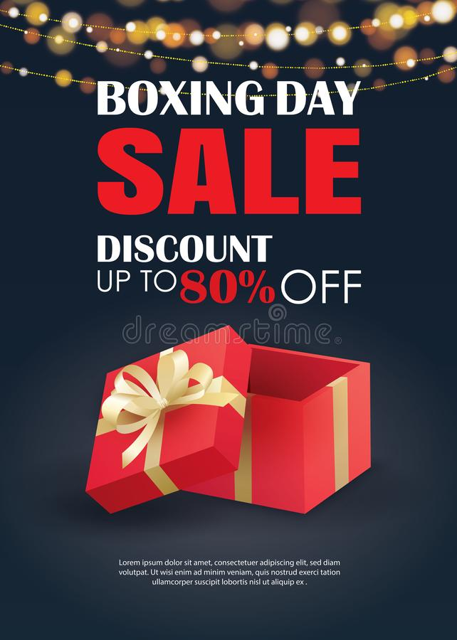 Boxing day sale with red gift box advertising poster template. Use for flyer, banner, christmas seasonal offer, discount royalty free illustration