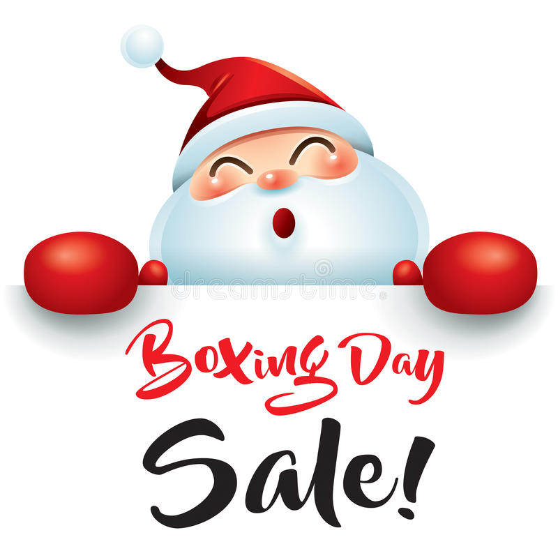 Boxing Day Sale! Santa Claus with red boxing glove. stock illustration