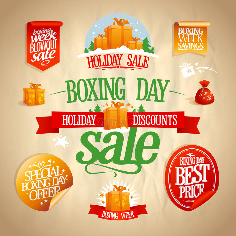 Boxing day sale signs, designs, banners, stickers and coupons. Boxing day sale signs, designs, banners, stickers and coupons set, vintage style stock illustration