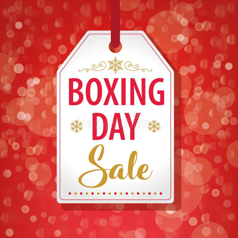 Boxing Day Sale Tag Label on Red Background - Vector. Illustration royalty free illustration
