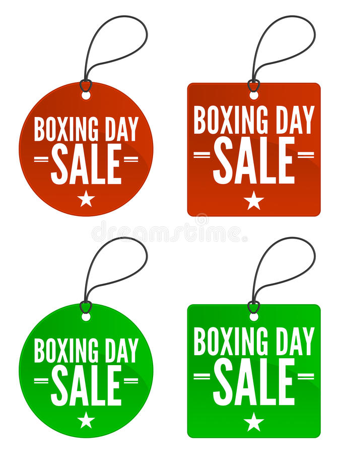 Boxing Day Sale Tags stock illustration