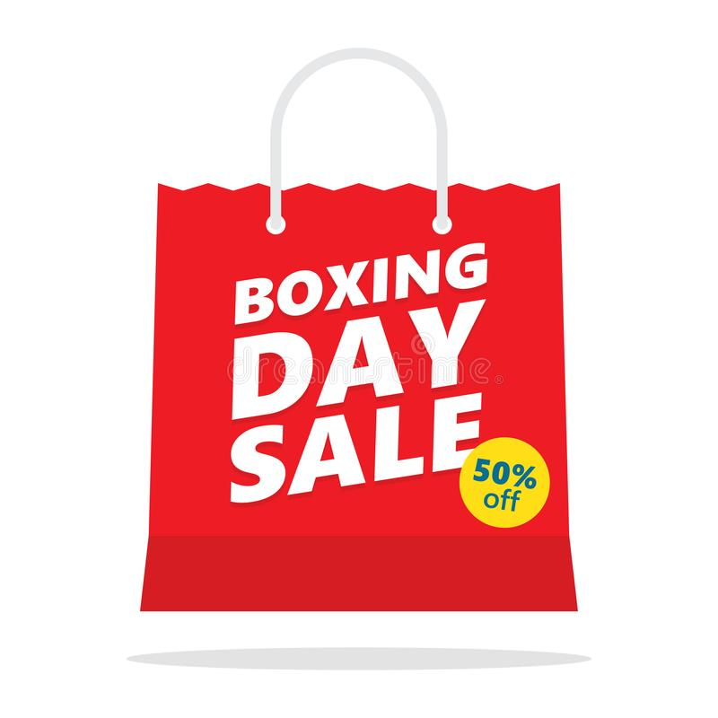 Boxing day sale. Vector shopping bag stock illustration