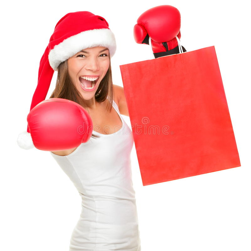 Boxing day shopping woman royalty free stock images