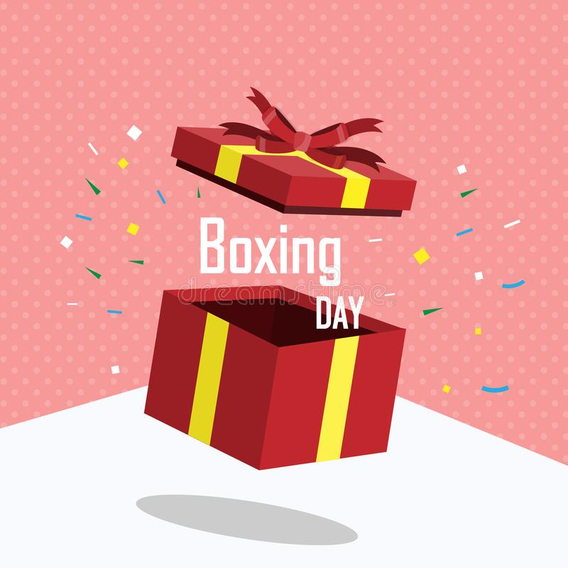 Boxing Day 01. Boxing day. Winter sale. Open red gift box and yellow ribbons. Christmas present on background. Vector illustration stock illustration