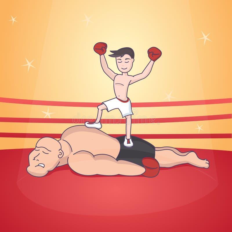 boxing duel Strijd in de ring stock illustratie