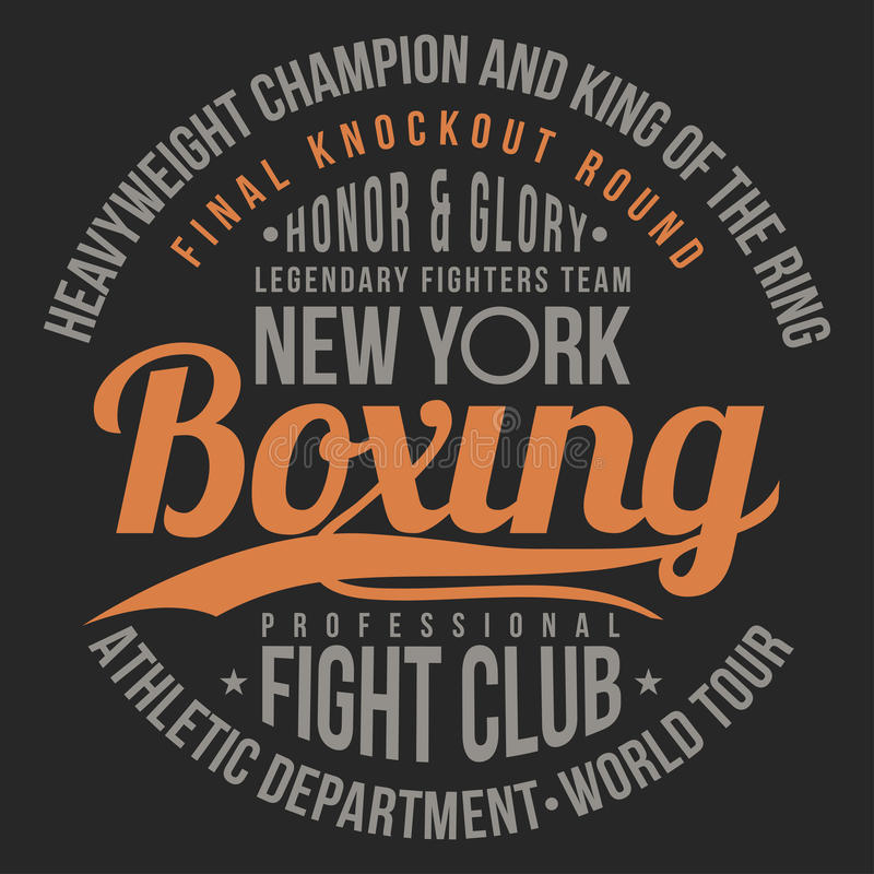 Boxing, fight club typography for t-shirt print, poster. T-shirt graphics vector illustration
