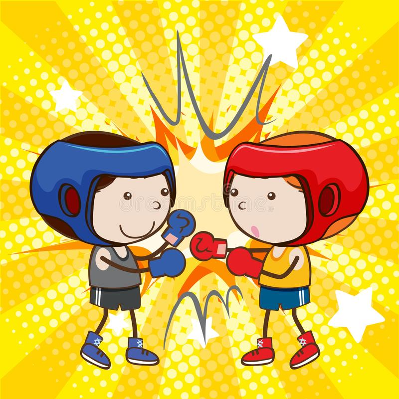 A Boxing Fight on Comic Background. Illustration royalty free illustration