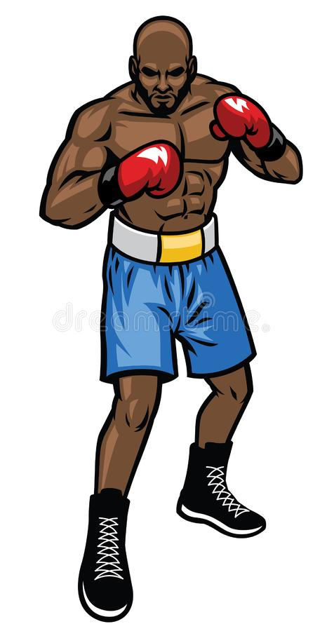 Boxing fighter stance. Vector of boxing fighter stance royalty free illustration