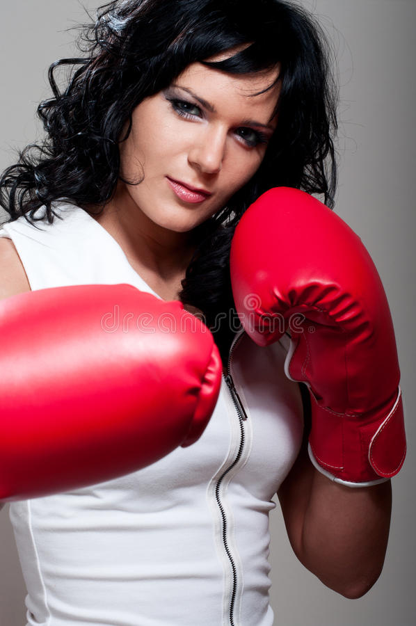 Boxing fighter woman attack stock image