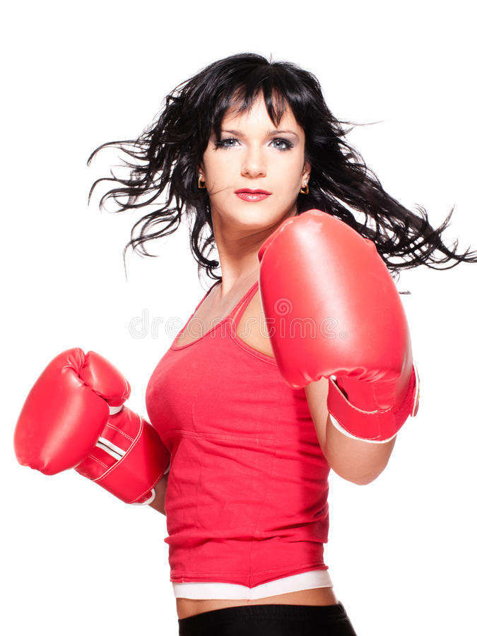 Boxing fighter woman turn back stock image