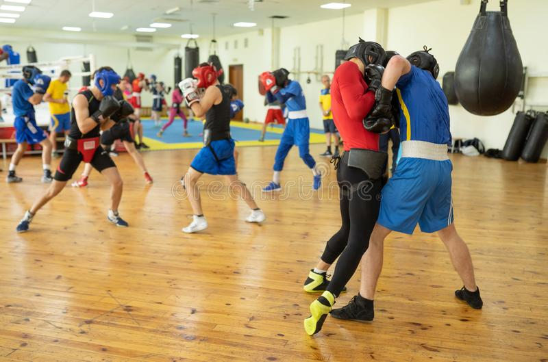 Boxing fighters training in club stock photo