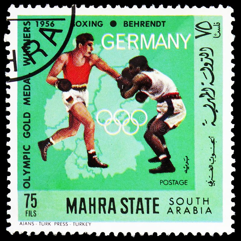 Boxing, German Olympic Champions, Mahra State serie, circa 1968 royalty free stock image