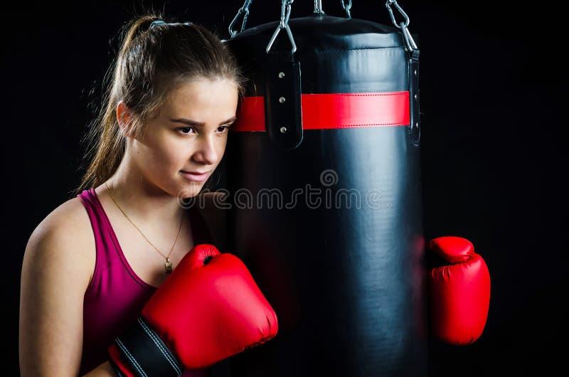 Boxing girl portrait stock photo