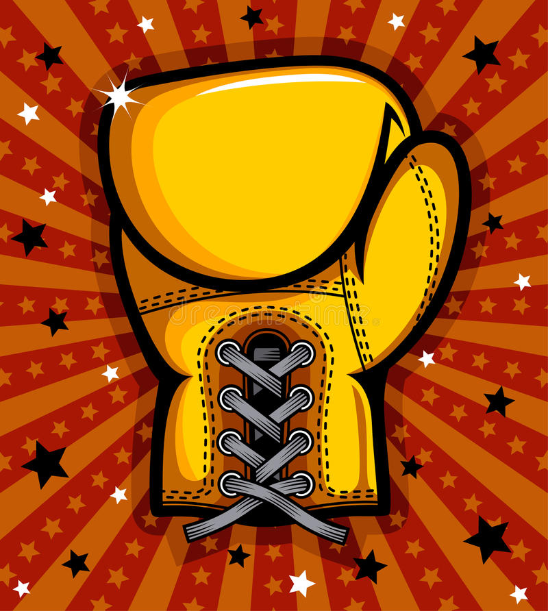 Boxing glove. Yellow boxing glove background stock illustration