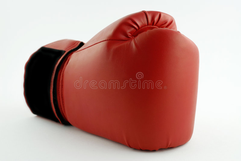 Boxing glove. A Single red boxing glove stock image