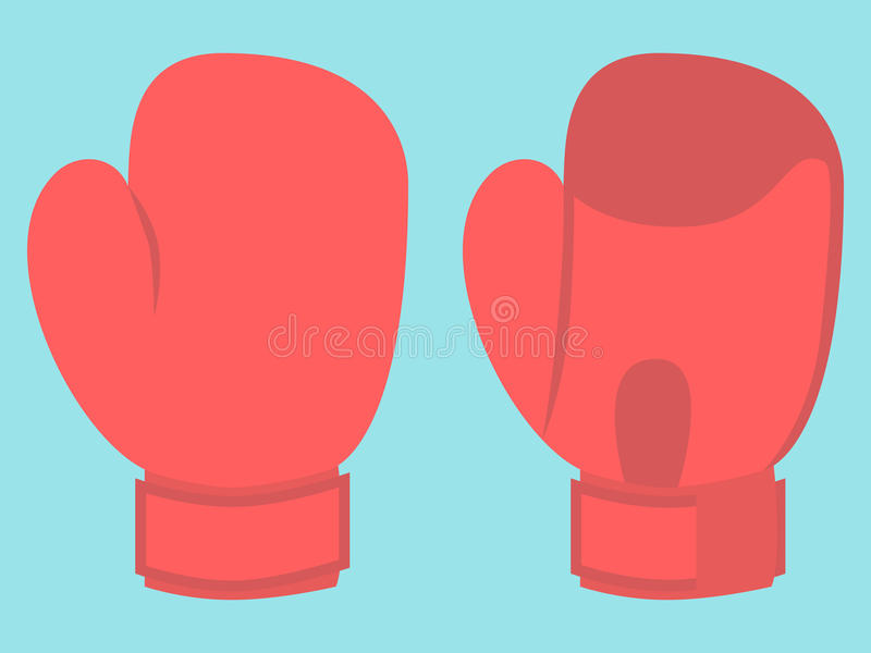 Boxing glove on blue. Red boxing glove isolated on blue background. Flat design. Vector illustration. EPS 8, no transparency stock illustration