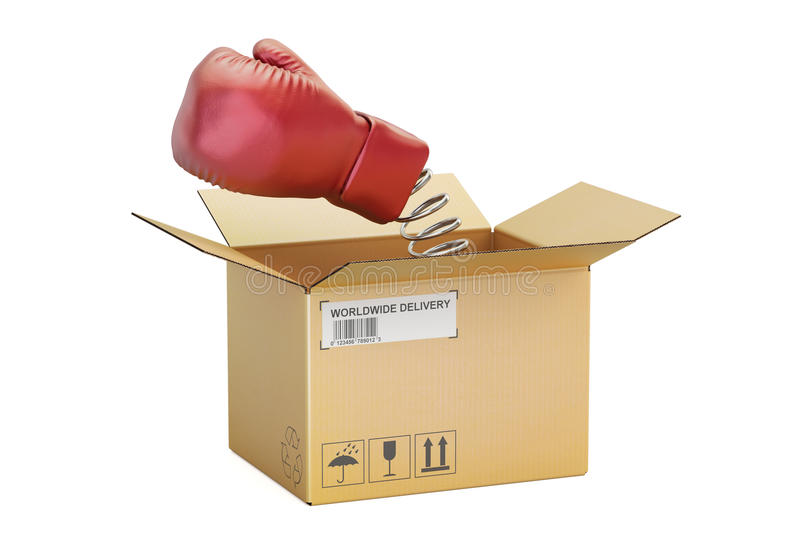 Boxing glove coming out from a cardboard box, 3D rendering. Boxing glove coming out from a cardboard box, 3D royalty free illustration