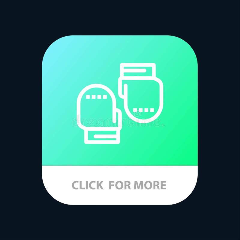 Boxing, Glove, Gloves, Protective Mobile App Button. Android and IOS Line Version royalty free illustration