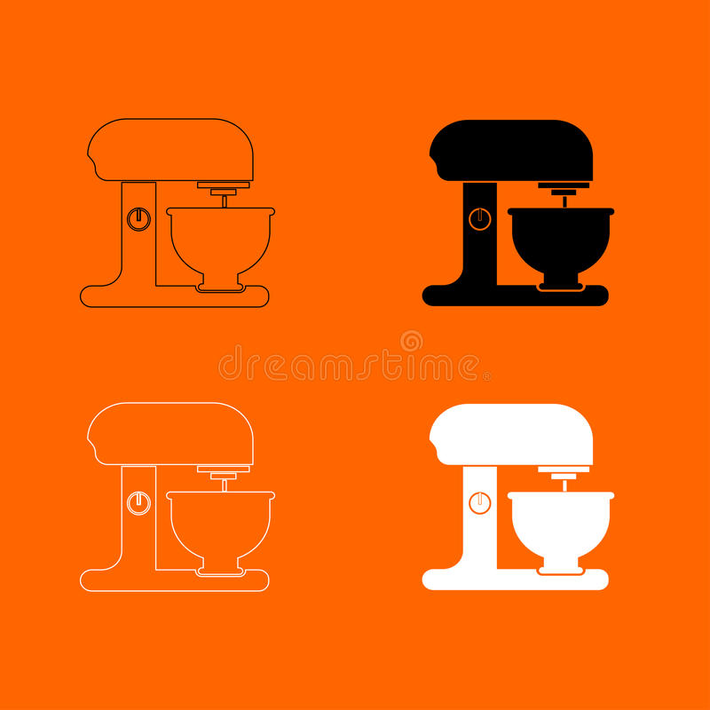 Food processor black and white color set icon . royalty free illustration