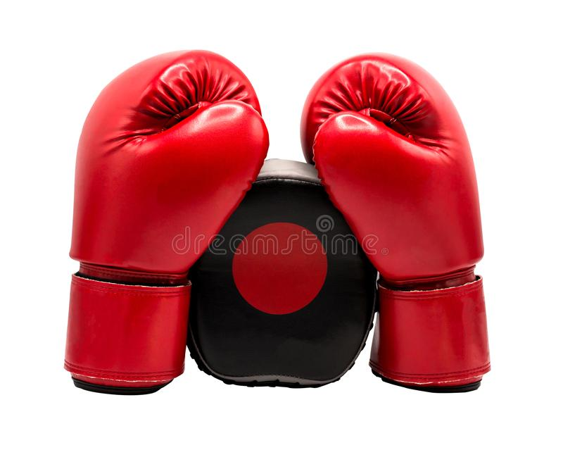 Boxing glove isolated on white background with clipping path. Copy space stock image
