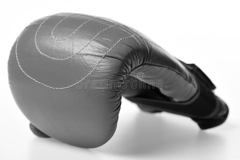 Boxing glove. Leather box equipment for fight and training stock photo