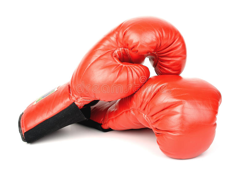 Boxing gloves. Closeup photo of the boxing gloves on a white background stock photo