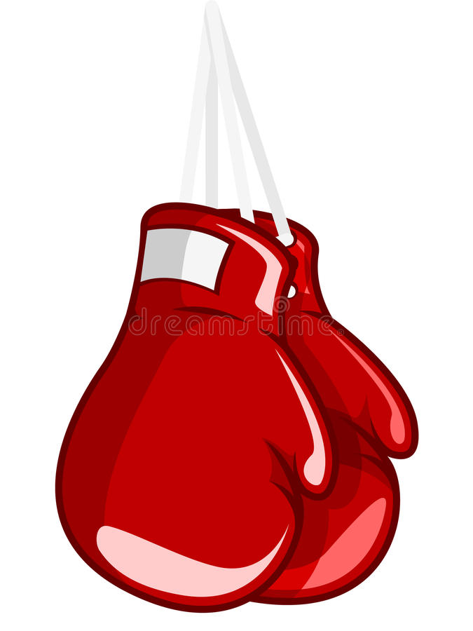 Boxing Gloves. An illustration of a pair of hung up boxing gloves