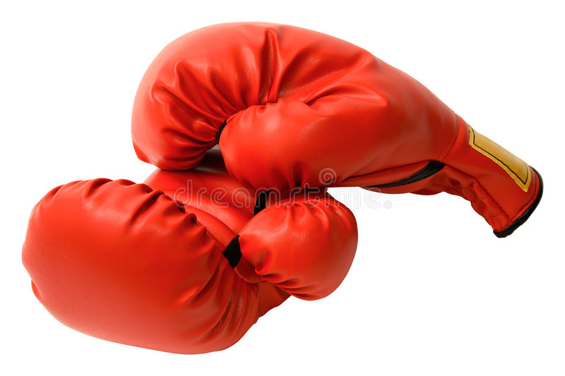 Boxing Gloves. This is a closeup of a pair of boxing gloves isolated on white royalty free stock photo